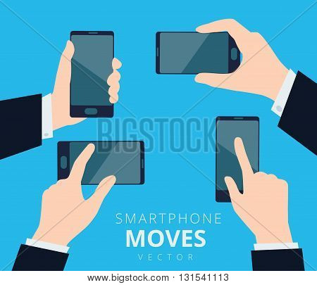 Set of hands with smartphone moves and gestures design