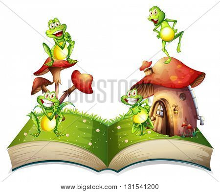 Book of toads and toadstool illustration