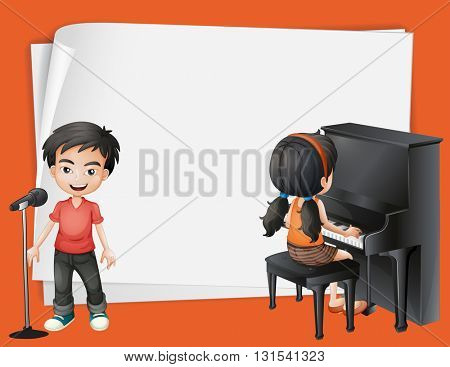Paper desing with girl playing piano and boy singing illustration