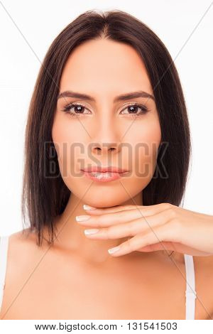Close Up Portrait Of Beautiful Calm Girl With Perfect Skin