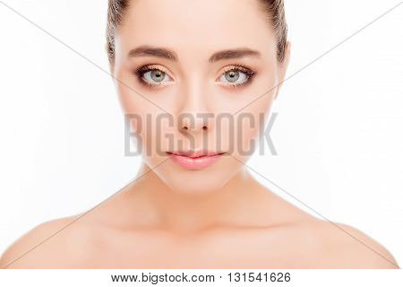Beautiful woman's face with perfect clean smooth skin