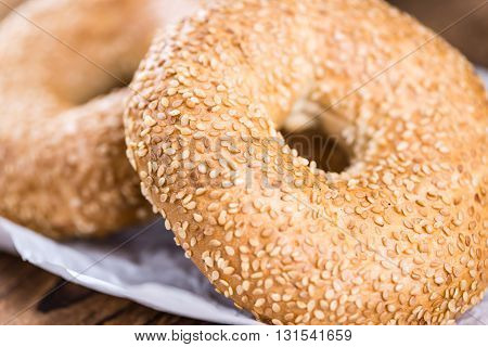 Bagels (with Sesame; Selective Focus)