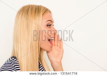 Side View Of Attractive Happy Woman Making Add