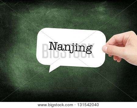 Nanjing written on a speechbubble