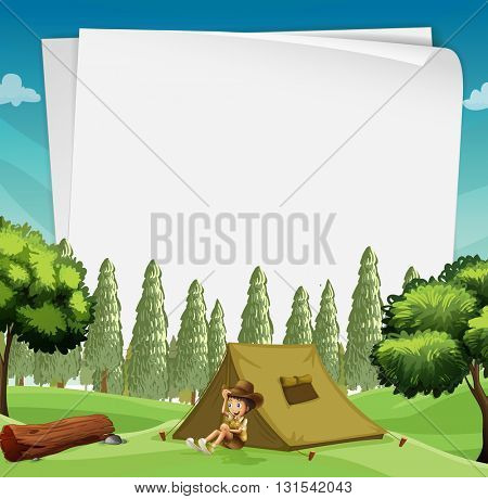 Paper design with man camping in woods illustration