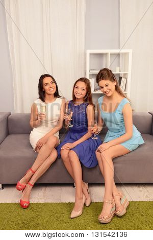 Three Pretty Sisters Holding Glasses With Wine While Sitting On Couch