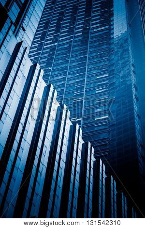 detail of modern architecture,chonqging china,blue toned image.