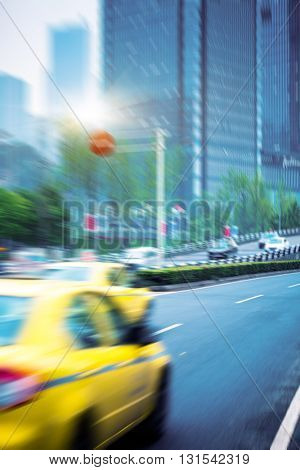 blurred motion traffic in the downtown district,hongkong