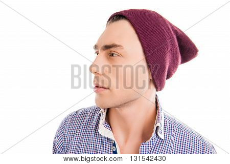 Handsome Young Man In Violet Cap, Side Face Photo