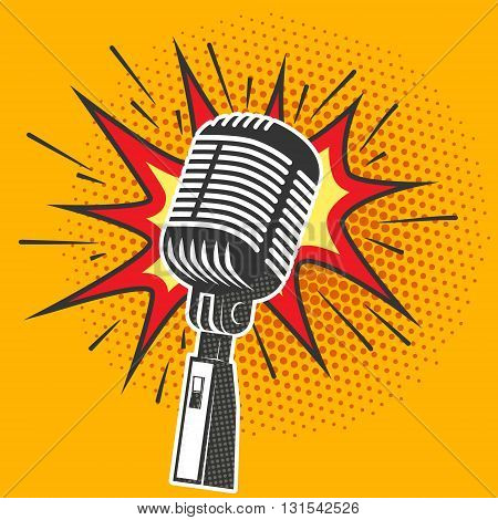 Poster with old microphone in pop art style. Design element in vector.