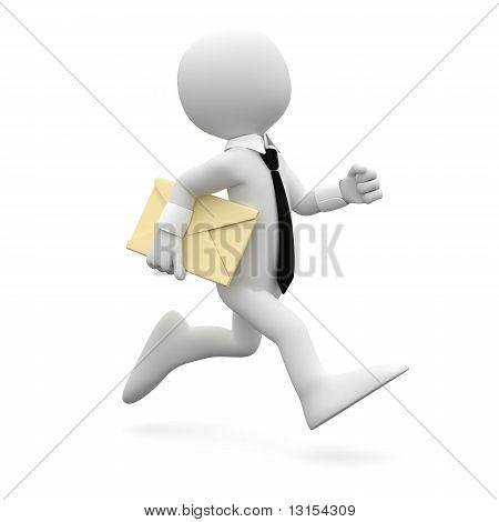 Homem correndo com terno e gravata, com uma carta debaixo do braço