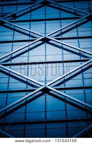 modern building exterior,blue toned image.