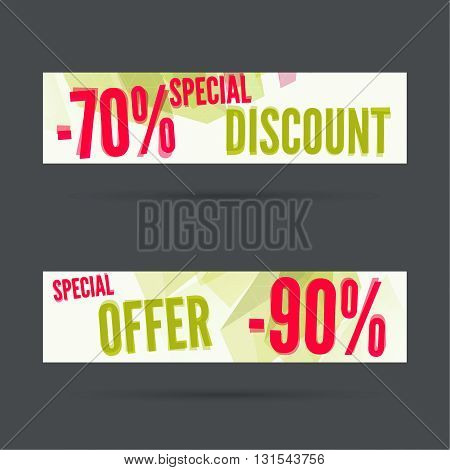 Set of discount banners. Special discount. Super offer