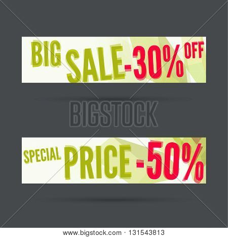 Set of discount banners. Big sale. Special price