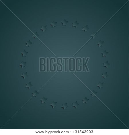 Vector abstract background. Blue stars in a circle with shadow. Eps 10.