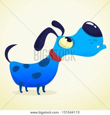 Cartoon Blue Dog. Vector illustration on white background for design