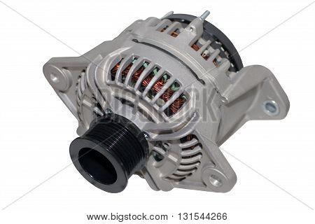 Alternator. Image of car alternator isolated on white background.