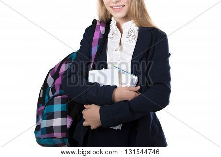 Smiling Schoolgirl With Pile Of Books