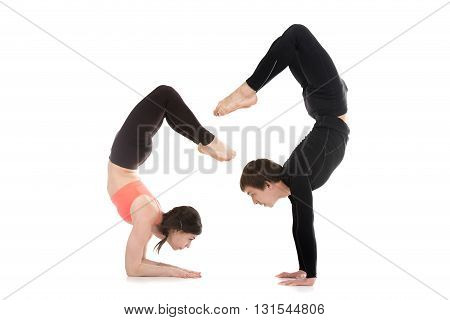 Profile of two sporty people doing handstand balance exercises yogi couple standing in yoga asana Scorpion Pose (Vrischikasana 1 and Vrischikasana 2)