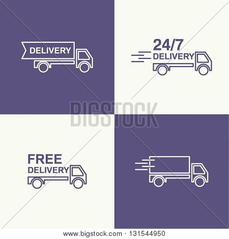 Freight transport. Concept delivery service. Truck delivers the goods. Outline. minimal. Set of vector icons.