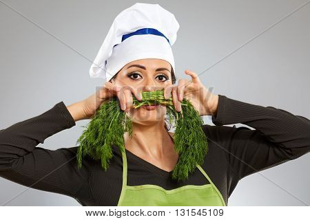 Female Cook With Moustache Of Dill