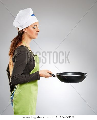 Woman Chef With A Wok
