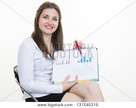 Businesswoman Smile Hold Clipboard Paper Report Document With Finance Chart,