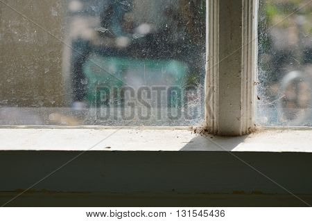 water stain on window glass in home