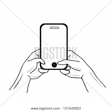 hands holding smartphone. Vector illustration. Isolated on white background.