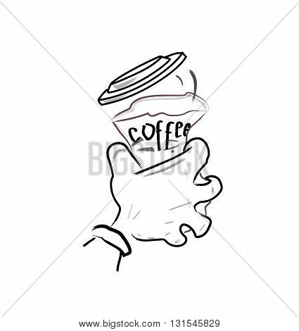 hand squeezes a paper cup of coffee. vector