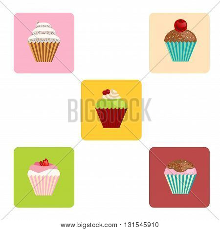 set of vector cartoon-style cute muffin icons