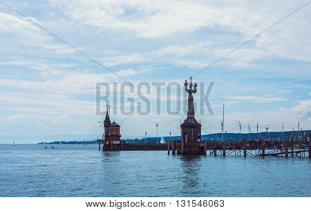 the Imperia statue in Constance before blue sky, lake constance germany