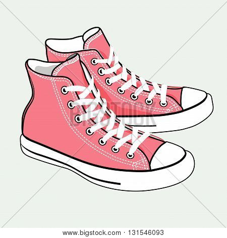 vector isolated cute cartoon style pink sneakers