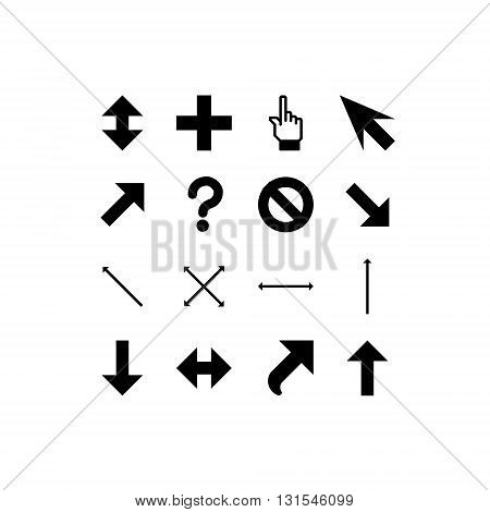 smooth vector black cursors icons on white background