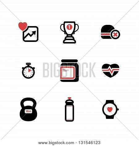 set of black and red vector fitness flat icons