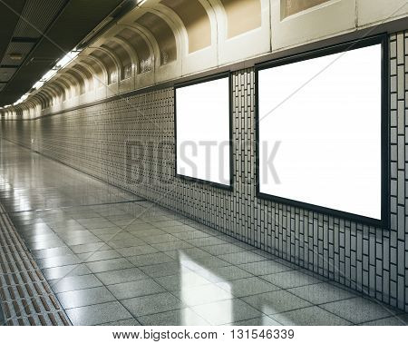 Blank Mock up Billboard Banner Signage Light box in subway station perspective