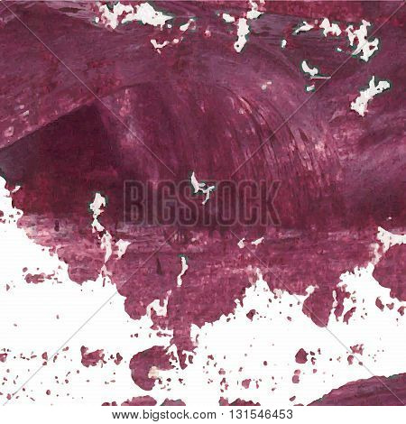 Vector Abstract Background Texture Brush Stroke Hand Painted With Acrylic Paint, Dark Cherry Violet