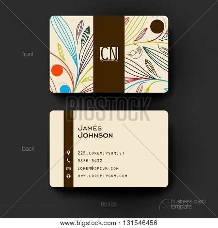 Business card vector template with floral ornament background. Creative modern design
