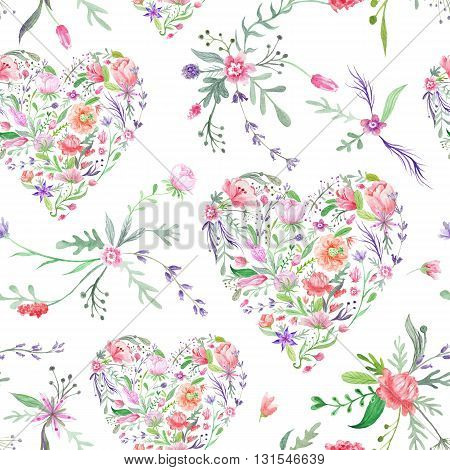 Seamless hand-painted texture with wild meadow flowers and plants on white background for paper and textile design