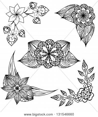 Set of black and white angular design elements doodle flowers and leaves. Vector elements for invitations greeting cards and your design ideas