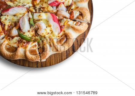 Pizza On Wooden Plate Isolated On White Background, Top View