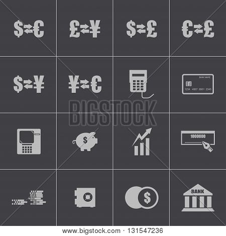 Vector black bank icons set on gray background