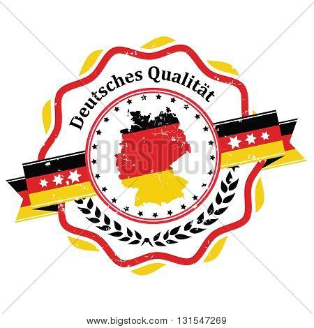 German Quality grunge printable label / badge in German language. Contains the flag and the map of Germany
