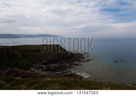 View Over The Coastline Near Widemouth Bay In Cornwall