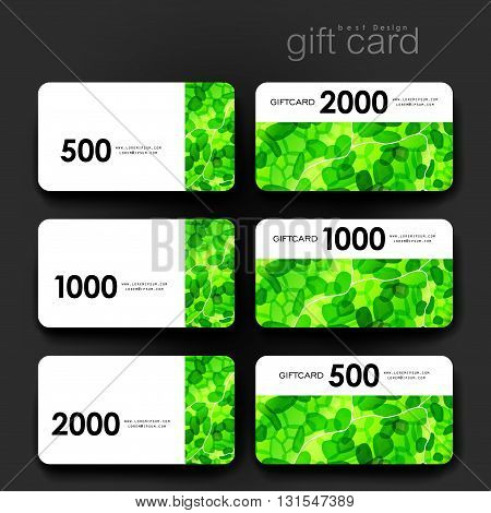 Gift coupon, discount card template with abstract background. Creative layout design