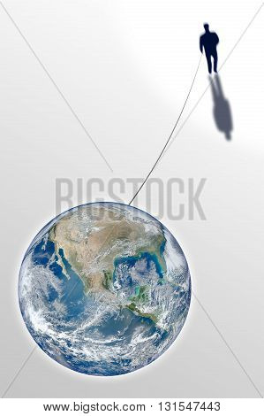 Man connected with the world - concept image with image from NASA. Conceptual image expressing the sense of the strong bond between man and Earth.