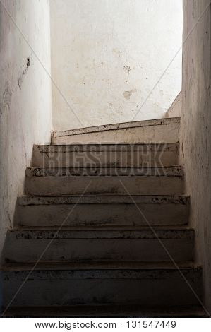 Old stairs, vertical interior view, Rabat, Morocco