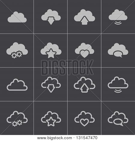 Vector black clouds icons set on grey background