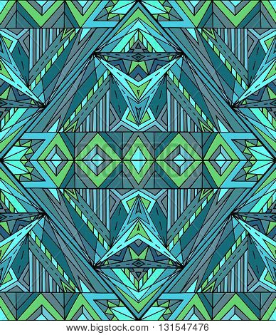 Abstract ethnic pattern in green tones. Vector background for your creativity