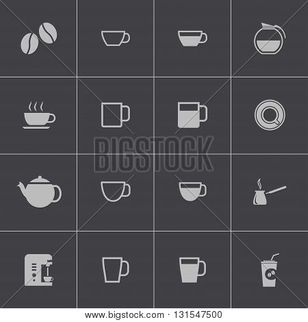 Vector black coffe icons set on grey background